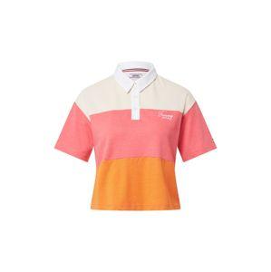 Tommy Jeans Póló  narancs / fehér / rózsaszín
