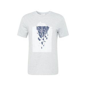 ARMEDANGELS Póló 'Jaames Iceberg'  szürke melír / kobaltkék / fehér