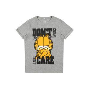 NAME IT Póló 'Garfield'  szürke melír / fekete / aranysárga