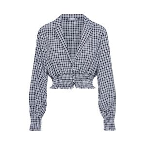 Missguided Blúz 'Check collared'  fekete