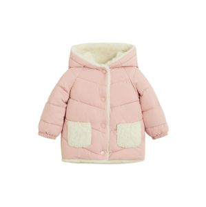 MANGO KIDS Téli dzseki  pasztell-rózsaszín / gyapjúfehér
