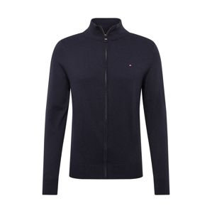 TOMMY HILFIGER Kardigán 'ORGANIC COTTON SILK ZIP THROUGH'  sötétkék