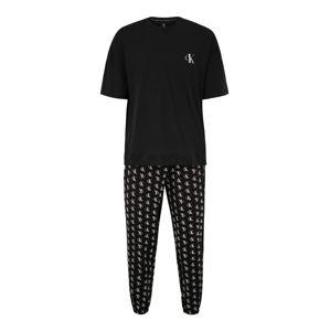 Calvin Klein Underwear Hosszú pizsama  fehér / fekete