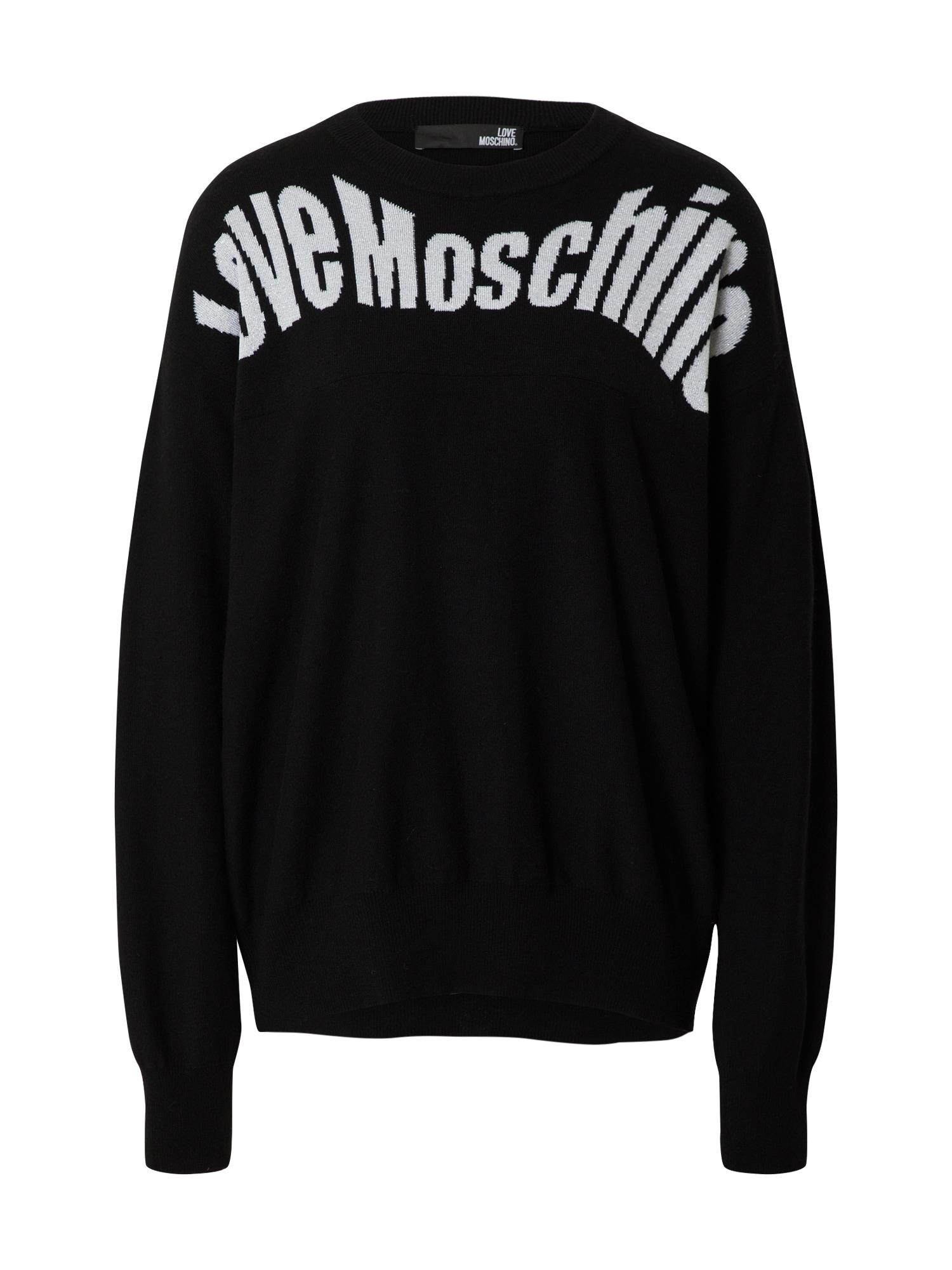 Love Moschino Pulóver  fehér / fekete