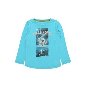 TOM TAILOR Póló 'T-shirt placed print'  tengerészkék / türkiz