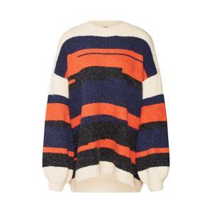 OBJECT Oversize pulóver 'FIA '  kék / sötét narancssárga / fehér