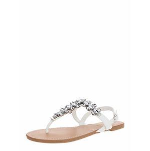 Miss Selfridge Ujjelválasztó-pántos szandál 'ELI White Toe Post Gem Sandals'  fehér