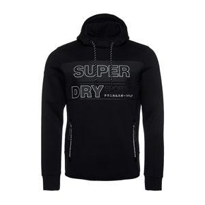 Superdry Hoodie  fekete / világosszürke / fehér