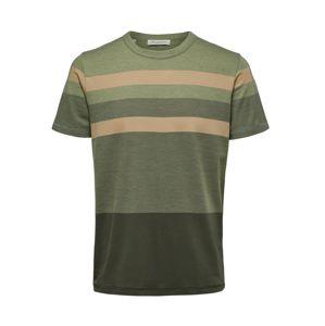 SELECTED HOMME T-Shirt  barna / sötétzöld